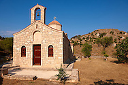 Greek Orthodox church overlooking the Palaichora hill, Aegina, Greek Saronic Islands .<br /> <br /> If you prefer to buy from our ALAMY PHOTO LIBRARY  Collection visit : https://www.alamy.com/portfolio/paul-williams-funkystock/aegina-greece.html <br /> <br /> Visit our GREECE PHOTO COLLECTIONS for more photos to download or buy as wall art prints https://funkystock.photoshelter.com/gallery-collection/Pictures-Images-of-Greece-Photos-of-Greek-Historic-Landmark-Sites/C0000w6e8OkknEb8