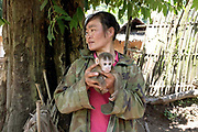 An Akha woman illegally trading in wildlife from villages along the Nam Ou river, Phongsaly province, Lao PDR.