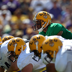 April 9, 2011; Baton Rouge, LA, USA; LSU Tigers quarterback Jordan Jefferson (9) under center during the 2011 Spring Game at Tiger Stadium.   Mandatory Credit: Derick E. Hingle