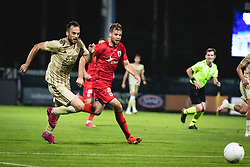 Žiga Kous of Mura and Nicolai Poulsen of AGF Aarhus  during football match between NS Mura and AGF Aarhus in Second Round of UEFA Europa League Qualifications, on September 17, 2020 in Stadium Fazanerija, Murska Sobota, Slovenia. Photo by Blaz Weindorfer / Sportida