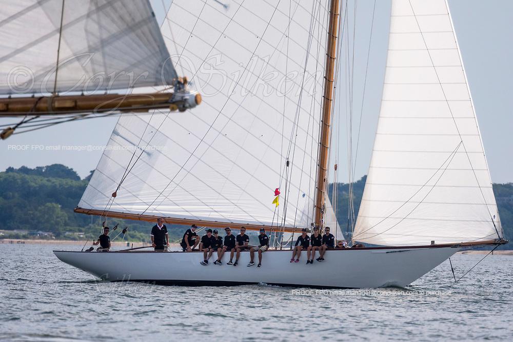 Marilee sailing at the Herreshoff Classic Yacht Regatta.
