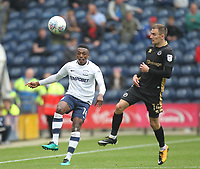 Preston North End's Darnell Fisher battles with  Millwall's Jed Wallace<br /> <br /> Photographer Mick Walker/CameraSport<br /> <br /> The EFL Sky Bet Championship - Preston North End v Millwall - Saturday 23rd September 2017 - Deepdale Stadium - Preston<br /> <br /> World Copyright © 2017 CameraSport. All rights reserved. 43 Linden Ave. Countesthorpe. Leicester. England. LE8 5PG - Tel: +44 (0) 116 277 4147 - admin@camerasport.com - www.camerasport.com
