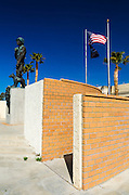 Statue of General Patton and memorial wall, General Patton Memorial Museum, Indio, California USA