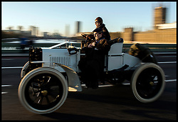November 6, 2016 - London, London, United Kingdom - Image ©Licensed to i-Images Picture Agency. 06/11/2016. London, United Kingdom. ..The London to Brighton Veteran Car Run 2016...A 1901 Panhard-Levassor Two-seater driven by Robert Kauffman travels over Westminster Bridge in central London, UK, on the first leg of the journey from London to Brighton...Picture by Ben Stevens / i-Images (Credit Image: © Ben Stevens/i-Images via ZUMA Wire)