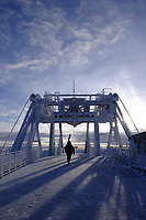 A skier walks across the deck at on the Summit Station of the Aerial Tram on Thursday morning at Jackson Hole Mountain Resort.
