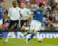 Photo: Jonathan Butler.<br /> England v Israel. UEFA European Championships Qualifying. 08/09/2007.<br /> Yossi Benayoun of Israel goes pasted Ashley Cole of England