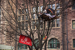 Dreamvale Properties wants to evict the protesters, who have set up camp 20ft above ground in the Grassmarket in Edinburgh. Simon Byrom was the original inhabitant of the tree house but has been replaced by Andrea Massa-Bernucci. <br /> The tree stands at the edge of land earmarked for the 225-bedroom hotel, which was given planning permission in November 2016. 7th March, 2017. (c) Brian Anderson | Edinburgh Elite media