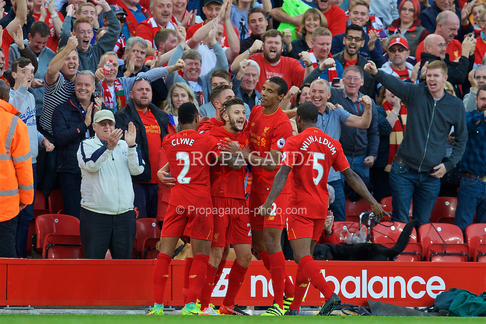 LIVERPOOL, ENGLAND - Saturday, September 10, 2016: Liverpool's Adam Lallana celebrates scoring the third goal against Leicester City during the FA Premier League match at Anfield. (Pic by David Rawcliffe/Propaganda)