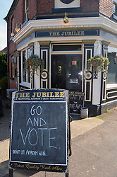 Go and vote outside pub in Norwich, local elections May 2016