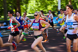 London, May 25th 2014. Eventual women's winner Gemma Steel, centre sets off on the BUPA 10 Km run in London.