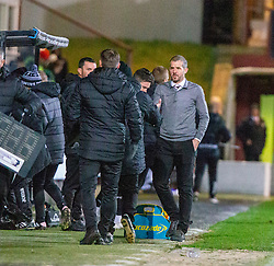 Partick Thistle's manager Ian McColl and Dunfermline's manager Stevie Crawford at the end. Dunfermline 5 v 1 Partick Thistle, Scottish Championship game played 30/11/2019 at Dunfermline's home ground, East End Park.