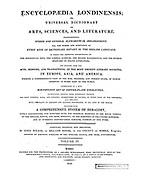 Title and credit page from the Encyclopaedia Londinensis or, Universal dictionary of arts, sciences, and literature; Volume IV;  Edited by Wilkes, John. Published in London in 1810