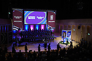 Uruguay 2015 World Cup team welcoming ceremony at the Royal Welsh College of Music and Drama in Cardiff, Wales.on Monday 14th Sept 2015.<br /> pic by Andrew Orchard, Andrew Orchard sports photography.