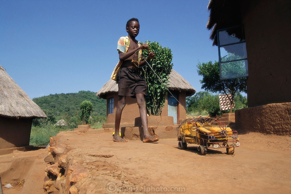 Thirteen-year-old Venda youth, Azwifarwi, with his homemade Mercedes crafted of scrap wire, foam rubber and wood in order to push and steer around his village, Tshamulavhu village, Mpumalanga, South Africa. Image from the book project Man Eating Bugs: The Art and Science of Eating Insects.