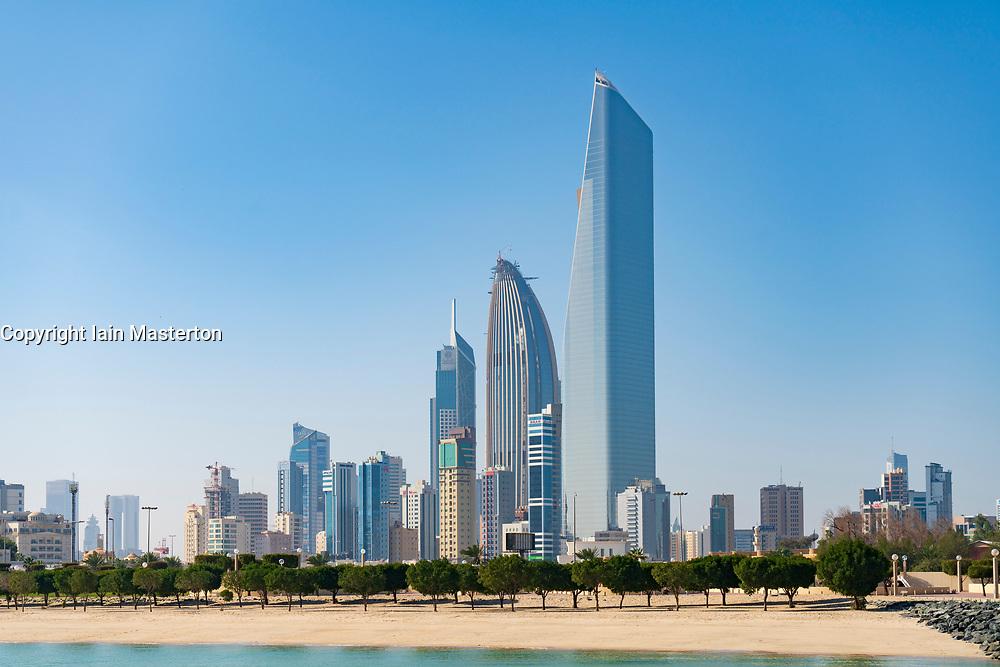 Skyline of modern office towers in downtown CBD of Kuwait City in Kuwait