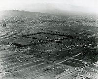1924 Aerial looking NE at Rancho La Brea Oil Co. Intersection at lower right is Wilshire Blvd. & Fairfax Ave.