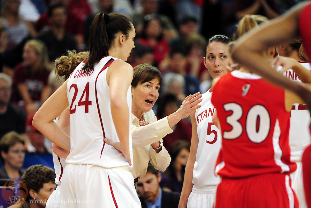 March 27, 2010; Sacramento, CA, USA; Stanford Cardinal head coach Tara VanDerveer (third from left) instructs her team during the 2010 NCAA Division I Women's Basketball Sacramento Regional Sweet 16 game against the Georgia Bulldogs at Arco Arena. The Cardinal defeated the Bulldogs 73-36. Mandatory Credit: Kyle Terada-Terada Photo