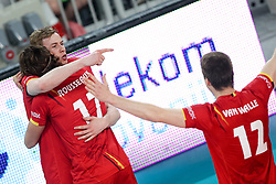 Sam Deroo of Belgium and Tomas Rousseaux of Belgium celebrate during volleyball match between National teams of Slovenia and Belgium in 2nd Round of 2018 FIVB Volleyball Men's World Championship qualification, on May 28, 2017 in Arena Stozice, Ljubljana, Slovenia. Photo by Morgan Kristan / Sportida