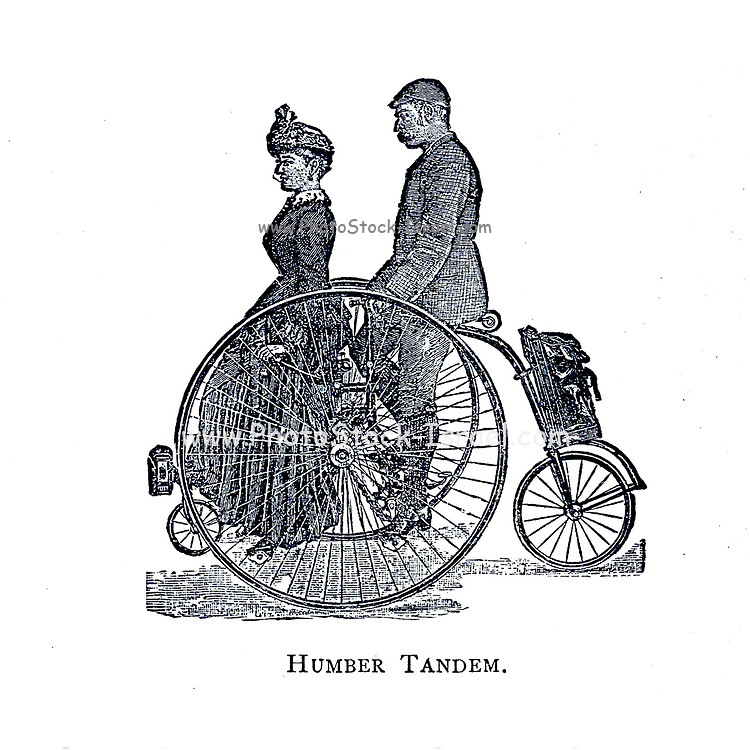 Man and woman enjoy a ride on a Humber Tandem tricycle From Wheels and Wheeling; An indispensable handbook for cyclists, with over two hundred illustrations by Porter, Luther Henry. Published in Boston in  1892
