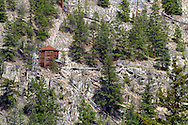Old mining buildings make up part of the Mascot Mine Museum on Nickel Plate Mountain above the mining town of Hedley in the Similkameen Valley of British Columbia, Canada