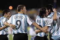 Fotball<br /> Copa America 2007<br /> 28.06.2007<br /> Argentina v USA<br /> Foto: imago/Digitalsport<br /> NORWAY ONLY<br /> <br /> Torjubel Argentinien, v.re.: Juan Riquelme, Lionel Messi, Hernan Crespo, Javier Zanetti