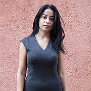 Ferrara, Italy, October 3, 2014. Maisa Saleh, Syrian journalist who worked as a correspondent for the Orient news television, following the civil war in Syria from Damascus. Concealing his identity, she led a weekly program with interviews with revolutionaries, also dealing with the non-violent resistance of the civilian population. In 2013 she was arrested and detained for seven months by the government of Bashar al Assad.