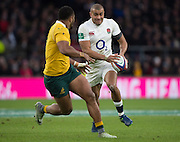 Twickenham, United Kingdom. Jonathan JOSEPH, going through a phase of play, during the Old Mutual Wealth Series Rest Match: England vs Australia, at the RFU Stadium, Twickenham, England, <br /> <br /> Saturday  03/12/2016<br /> <br /> [Mandatory Credit; Peter Spurrier/Intersport-images]