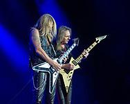 RICHIE FAULKNER (L) and GLENN TIPTON of Judas Priest at San Manuel Amphitheater in San Bernardino, California