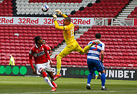 Queens Park Rangers' Seny Dieng comes for and drops a cross under pressure from Middlesbrough's Djed Spence<br /> <br /> Photographer Alex Dodd/CameraSport<br /> <br /> The EFL Sky Bet Championship - Middlesbrough v Queens Park Rangers - Saturday 17th April 2021 - Riverside Stadium - Middlesbrough <br /> <br /> World Copyright © 2021 CameraSport. All rights reserved. 43 Linden Ave. Countesthorpe. Leicester. England. LE8 5PG - Tel: +44 (0) 116 277 4147 - admin@camerasport.com - www.camerasport.com