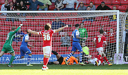 Barnsley's Luke Berry scores a late equalising goal - Photo mandatory by-line: Joe Dent/JMP - Mobile: 07966 386802 - 18/04/2015 - SPORT - Football - Barnsley - Oakwell - Barnsley v Peterborough United - Sky Bet League One