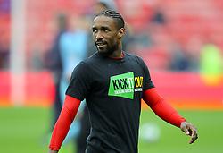 Sunderland's Jermain Defoe warming up wearing a kick it out T-shirt