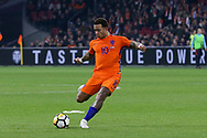 Netherlands forward Memphis Depay (Olympique Lyonnais), shoots at goal with a free kick during the Friendly match between Netherlands and England at the Amsterdam Arena, Amsterdam, Netherlands on 23 March 2018. Picture by Phil Duncan.