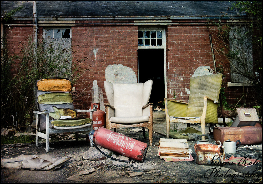 Three chairs outside a workshop at Hellingly Asylum http://www.vivecakohphotography.co.uk/2011/02/10/three-wise-men/