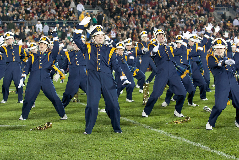 Notre Dame band performs during halftime of NCAA football game between Notre Dame and USC.  The USC Trojans defeated the Notre Dame Fighting Irish 31-17 in game at Notre Dame Stadium in South Bend, Indiana.