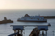 A P&O ferry arriving into the Eastern Dock at the Port of Dover, where the cross channel port is situated with ferries departing here to go to Calais in France on the 29th of January 2020 in Dover, Kent, United Kingdom. Dover is the nearest port to France with just 34 kilometres 21 miles between them. It is one of the busiest ports in the world. As well as freight container ships it is also the main port for P&O and DFDS Seaways ferries.