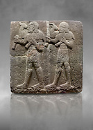 Hittite monumental relief sculpted orthostat stone panel of a Procession Basalt, Karkamıs, (Kargamıs), Carchemish (Karkemish), 900-700 B.C.  Anatolian Civilisations Museum, Ankara, Turkey. Young male servants of Kubaba while carrying sacrificial animals on their shoulders. <br /> <br /> Against a grey art background. .<br />  <br /> If you prefer to buy from our ALAMY STOCK LIBRARY page at https://www.alamy.com/portfolio/paul-williams-funkystock/hittite-art-antiquities.html  - Type  Karkamıs in LOWER SEARCH WITHIN GALLERY box. Refine search by adding background colour, place, museum etc.<br /> <br /> Visit our HITTITE PHOTO COLLECTIONS for more photos to download or buy as wall art prints https://funkystock.photoshelter.com/gallery-collection/The-Hittites-Art-Artefacts-Antiquities-Historic-Sites-Pictures-Images-of/C0000NUBSMhSc3Oo