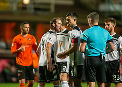 Ayr United's player manager Mark Kerr gets a red card from ref Aitken after his protest for the yellow after his tackle on Dundee United's Sam Stanton for their penalty. Dundee United 4 v 0 Ayr United, Scottish Championship game played 21/12/2019 at Dundee United's stadium Tannadice Park.