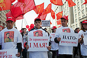 Moscow, Russia, 01/05/2010..Communist anti-government groups demonstrate in central Moscow. A variety of political groups took to the streets on the traditional Russian Mayday holiday.