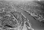 """Ackroyd 05567-02. """"Aerials of Portland October 1, 1954"""", """"Union Pacific Yards looking up river"""" (N Portland yards & Willamette river. N & NW waterfront above Terminal 2)"""
