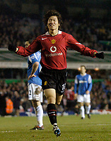 Photo: Glyn Thomas.<br />Birmingham City v Manchester United. Carling Cup.<br />20/12/2005.<br /> Manchester United's Ji-Sung Park celebrates after scoring his team's second goal.