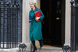 London, UK. 12th February, 2019. Elizabeth Truss MP, Chief Secretary to the Treasury, leaves 10 Downing Street following a Cabinet meeting.