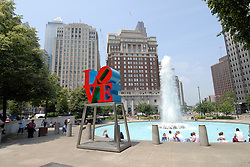 LOVE statue at JFK Plaza..Philadelphia, Pennsylvania, PA USA.  Photo copyright Lee Foster, 510-549-2202, lee@fostertravel.com, www.fostertravel.com. Photo 331-30571