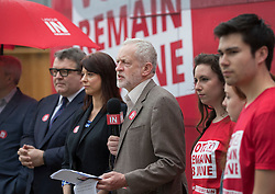 © Licensed to London News Pictures. 10/05/2016. London, UK. Labour party leader Jeremy Corbyn (C) stands next to Gloria De Piero, Shadow Minister for Young People, as they launch the 'Labour In for Britain' campaign and a new EU referendum campaign bus. Photo credit: Peter Macdiarmid/LNP
