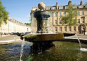 Fountain, Laura Place, looking down Henrietta Street, Bath