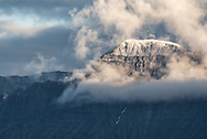 """Mt Katolinat with the season's first dusting of snow, locally known as """"termination dust"""" as it signals the end of summer."""