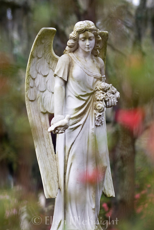 Angel funerary statue at Bonaventure Cemetery in Savannah, Georgia