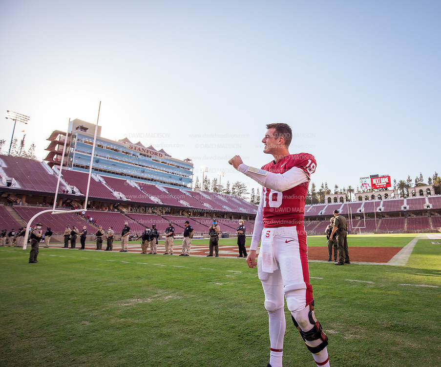 PALO ALTO, CA - OCTOBER 2:  Tanner McKee #18 of the Stanford Cardinal celebrates on the field after  Stanford's 31-24 overtime victory over the Oregon Ducks in a Pac-12 college football game on October 2, 2021 at Stanford Stadium in Palo Alto, California.  (Photo by David Madison/Getty Images)
