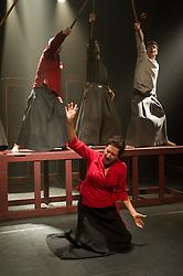 "© Copyright licensed to London News Pictures. 03/11/2010. Anna Kubrzycki (Lady Macbeth). Back (L to R) Gabriel Gawin (Macbeth), Ian Morgan (MacDuff), Kacper Kuszewski (Banquo). Song of the Goat Theatre present ""Macbeth"" as part of the bite 10 season at the Barbican, London."