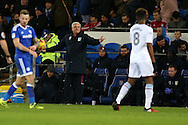 Steve Bruce, the Aston Villa manager looks on frustrated . EFL Skybet championship match, Cardiff city v Aston Villa at the Cardiff City Stadium in Cardiff, South Wales on Monday 2nd January 2017.<br /> pic by Andrew Orchard, Andrew Orchard sports photography.