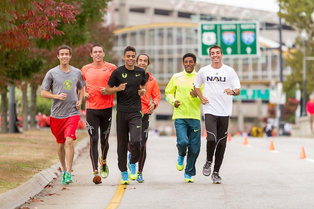 CVS Health Downtown 5k, USA 5k road championship, elite men warm up, McDougal, Batty, Centrowitz, Estrada, Macheso, ?